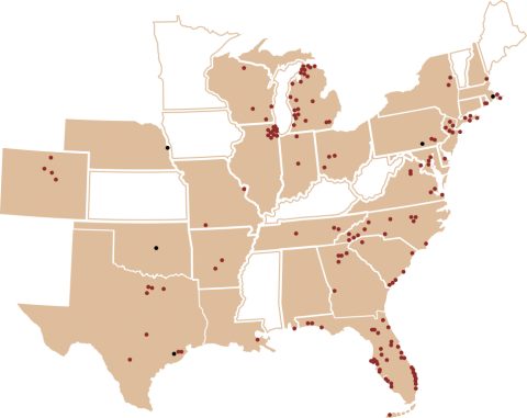 Map of Kilwins Franchises